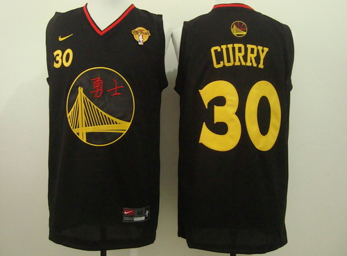 Men's Golden State Warriors #30 Stephen Curry Chinese Black Nike Authentic  Jersey