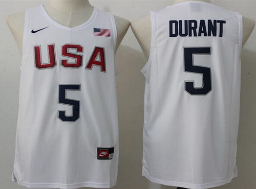 5c823c4d57f3 2016 Olympics Team USA Men s  5 Kevin Durant Revolution 30 Swingman White  Jersey