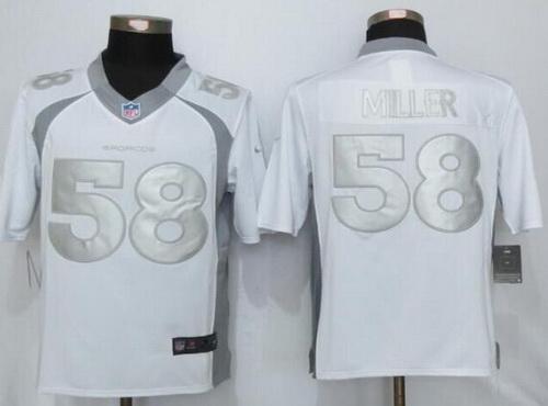 Wholesale Men\'s Denver Broncos #58 Von Miller White Platinum NFL Nike Limited  free shipping Qw56Olny