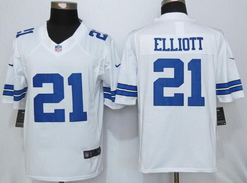 Discount Men's Dallas Cowboys #21 Ezekiel Elliott White Road NFL Nike Limited  for cheap