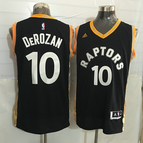 725d1eea529 Men's Toronto Raptors #10 DeMar DeRozan Black With Gold New NBA Rev 30  Swingman Jersey