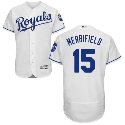 newest d432c 61d9f Men's Kansas City Royals #15 Whit Merrifield White Home 2016 ...