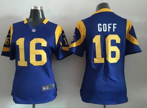 ec05b06b Women's Los Angeles Rams #16 Jared Goff Royal Blue Alternate NFL Nike Game  Jersey