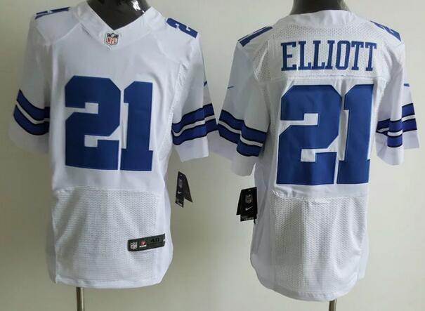 outlet store 39627 73cbe Men's Dallas Cowboys #21 Ezekiel Elliott White Road NFL Nike ...