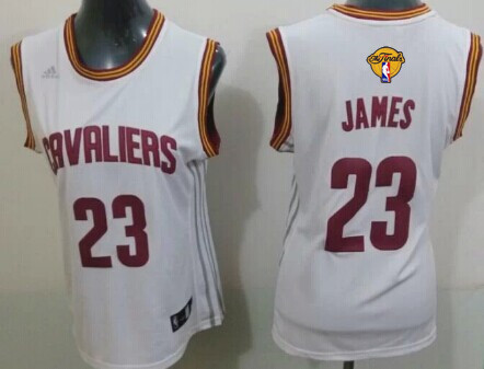Women's Cleveland Cavaliers #23 LeBron James White 2016 The NBA Finals Patch Jersey
