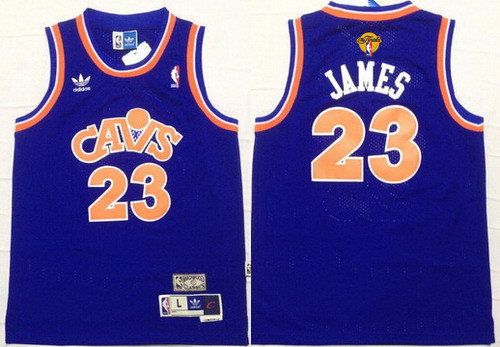 Youth Cleveland Cavaliers #23 LeBron James Blue Throwback 2016 The NBA Finals Patch Jersey