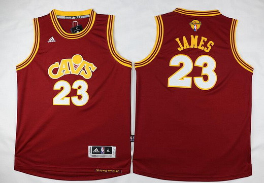 Youth Cleveland Cavaliers #23 LeBron James Red Throwback 2016 The NBA Finals Patch Jersey