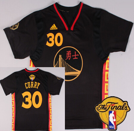 Men's Golden State Warriors #30 Stephen Curry Chinese Black Fashion 2016 The NBA Finals Patch Jersey