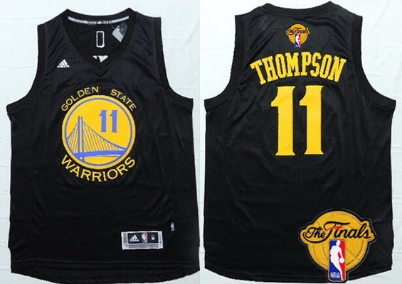 5123b4b6598 Men's Golden State Warriors #11 Klay Thompson Black With Gold 2016 The NBA  Finals Patch Jersey