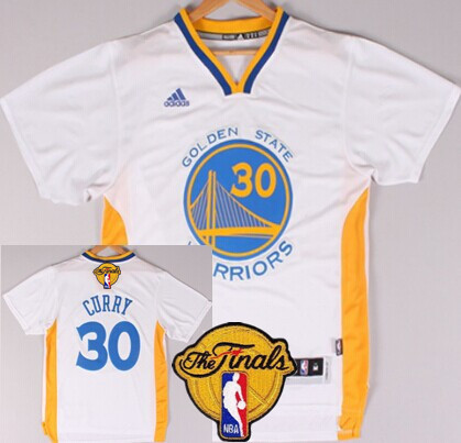 Men's Golden State Warriors #30 Stephen Curry White Short-Sleeved 2016 The NBA Finals Patch Jersey