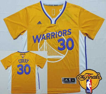 Men's Golden State Warriors #30 Stephen Curry Revolution Yellow Short-Sleeved 2016 The NBA Finals Patch Jersey