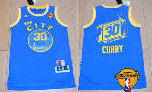 Men's Golden State Warriors #30 Stephen Curry Retro Blue 2016 The NBA Finals Patch Jersey