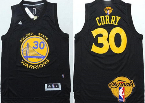 Men's Golden State Warriors #30 Stephen Curry Black With Gold 2016 The NBA Finals Patch Jersey