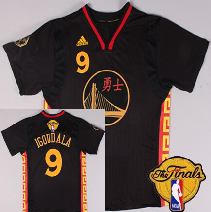 Men's Golden State Warriors #9 Andre Iguodala Chinese Black Fashion 2016 The NBA Finals Patch Jersey