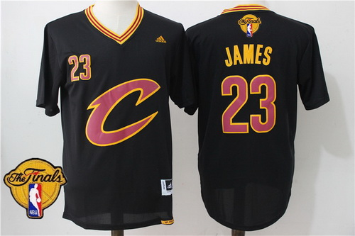 28f144b96b8 Men's Cleveland Cavaliers LeBron James #23 2016 The NBA Finals Patch New  Black Short-Sleeved Jersey