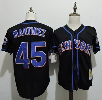 size 40 b25a3 dcdc9 Men's New York Mets #45 Pedro Martinez Black Cooperstown ...
