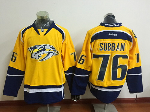 online retailer 98869 44529 Men's Nashville Predators #76 P. K. Subban Yellow Reebok ...