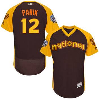 Joe Panik Brown 2016 All-Star Jersey - Men's National League San Francisco Giants #12 Flex Base Majestic MLB Collection Jersey