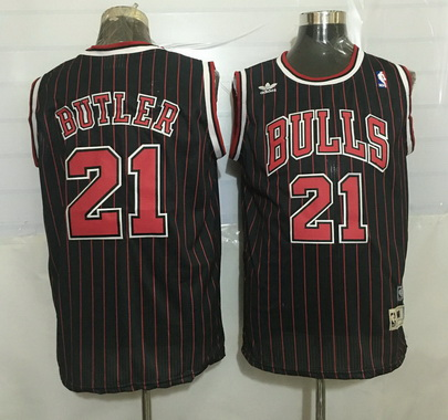 Men's Chicago Bulls #21 Jimmy Butler Black Pinstripe Hardwood Classics Soul Swingman Throwback Jersey