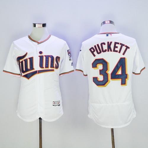 bdcb733b067 Men's Minnesota Twins #34 Kirby Puckett Retired White 2016 Flexbase  Majestic Baseball Jersey