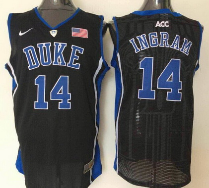 fa84cee89e2 Men s Duke Blue Devils  14 Brandon Ingram Black College Basketball Nike  Swingman Jersey