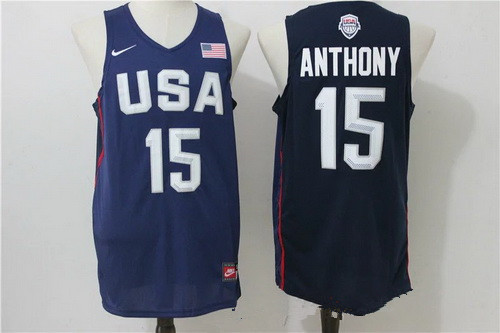 2016 Olympics Team USA Men's #15 Carmelo Anthony Navy Blue Revolution 30 Swingman Basketball Jersey
