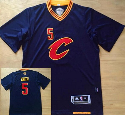 new arrival efb09 68afb Men's Cleveland Cavaliers #5 J.R. Smith Navy Blue Revolution ...