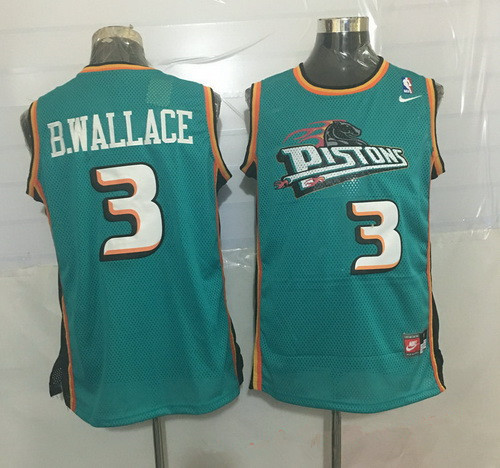 Men s Detroit Pistons  3 Ben Wallace Teal Green Hardwood Classics Soul  Swingman Throwback Jersey da5a598be