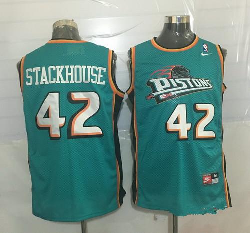 huge selection of 35902 5425f Men's Detroit Pistons #42 Jerry Stackhouse Teal Green ...