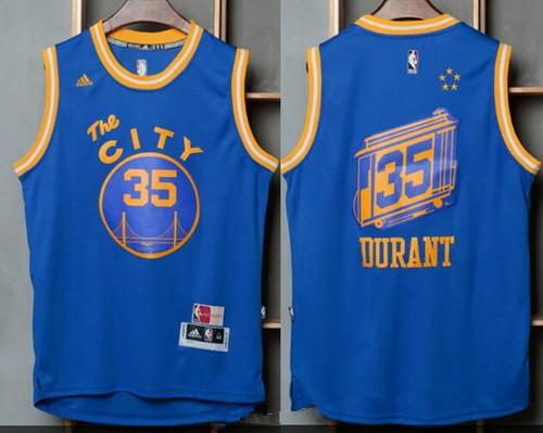 564a02e04eb Men s Golden State Warriors  35 Kevin Durant Blue The City Revolution 30  Swingman Basketball Jersey