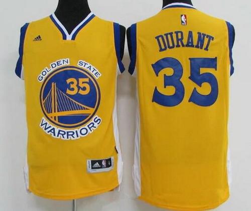 reputable site 078c1 b34ec Men's Golden State Warriors #35 Kevin Durant Yellow ...