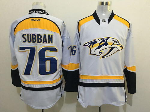 Men s Nashville Predators  76 P. K. Subban White Reebok NHL Ice Hockey  Jersey d63a0e6c6