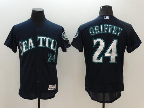 hot sales 7b1a3 aaec1 Men's Seattle Mariners #24 Ken Griffey Jr. Retired Navy Blue ...