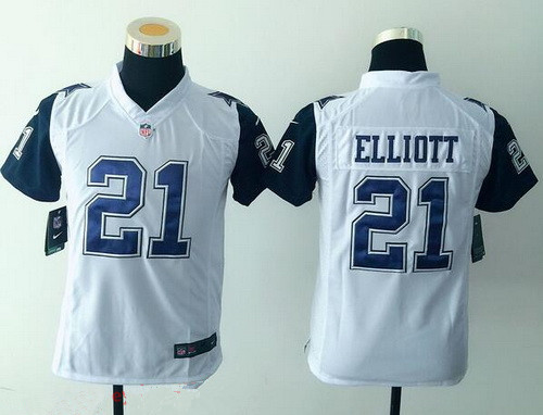 2c57b8538ff Youth Dallas Cowboys #21 Ezekiel Elliott Nike White Color Rush 2015 NFL  Game Jersey