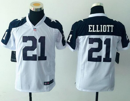 size 40 f8fa9 14895 Youth Dallas Cowboys #21 Ezekiel Elliott White Thanksgiving ...