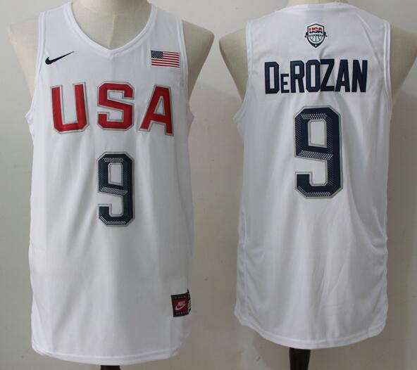1c5ab626 2016 Olympics Team USA Men's #9 DeMar DeRozan White Stitched NBA Nike  Swingman Jersey
