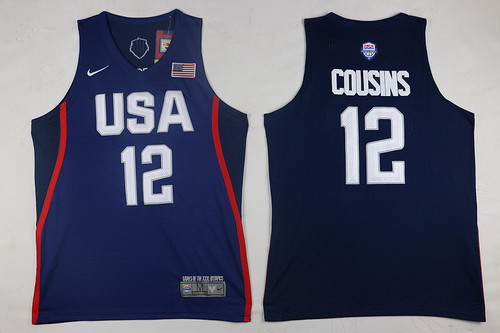 2016 Olympics Team USA Men's #12 DeMarcus Cousins Navy Blue Stitched NBA Nike Swingman Jersey