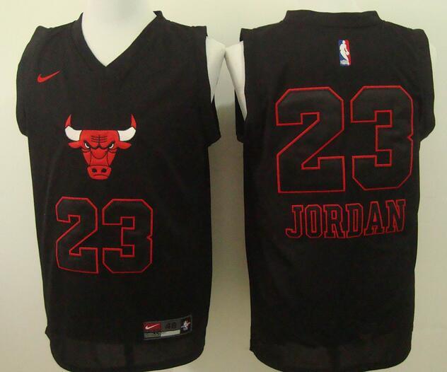 huge discount 211a8 ec936 Men's Chicago Bulls #23 Michael Jordan Black Bull Head ...
