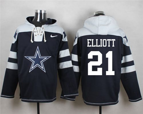 the latest 8ec10 6a4f0 Nike Cowboys #21 Ezekiel Elliott Navy Blue Player Pullover ...