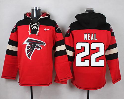 Nike Falcons #22 Keanu Neal Red Player Pullover NFL Hoodie