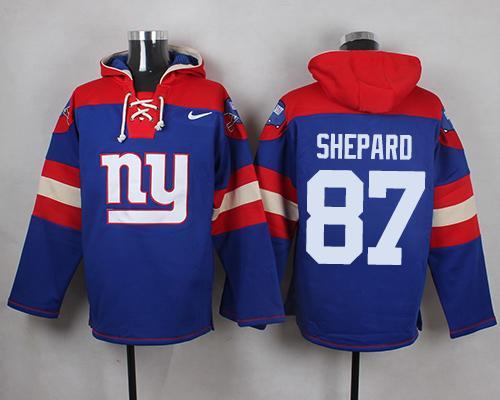 Nike Giants #87 Sterling Shepard Royal Blue Player Pullover NFL Hoodie