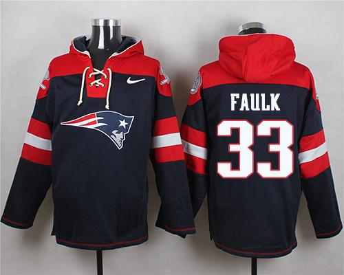 Nike Patriots #33 Kevin Faulk Navy Blue Player Pullover NFL Hoodie