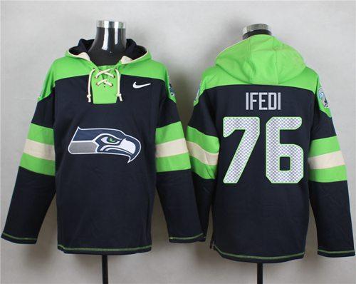 Nike Seahawks #76 Germain Ifedi Navy Blue Player Pullover NFL Hoodie