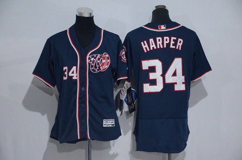 pretty nice 49e91 b45f2 Women's Washington Nationals #34 Bryce Harper Navy Blue 2016 ...