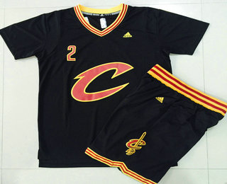 Men s Cleveland Cavaliers  2 Kyrie Irving Revolution 30 Swingman 2015-16  New Black Short-Sleeved Jersey(With-Shorts) 4a42667a3