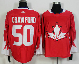 Men's Team Canada #50 Corey Crawford Red 2016 World Cup of Hockey Game Jersey