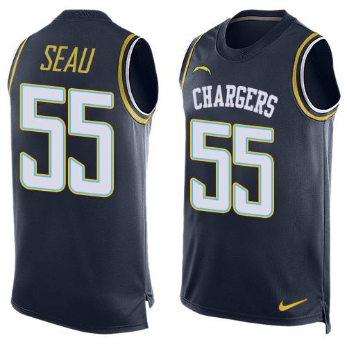 109ee0f3 Men's San Diego Chargers #55 Junior Seau Navy Blue Hot Pressing Player Name  & Number Nike NFL Tank Top Jersey