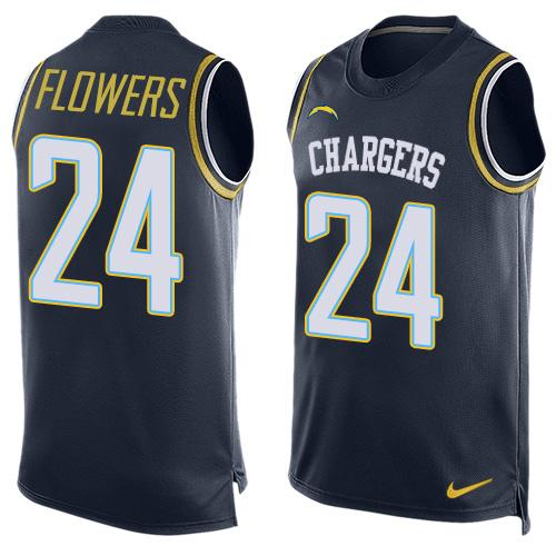 Men's San Diego Chargers #24 Brandon Flowers Green Salute to Service Hot Pressing Player Name & Number Nike NFL Tank Top Jersey