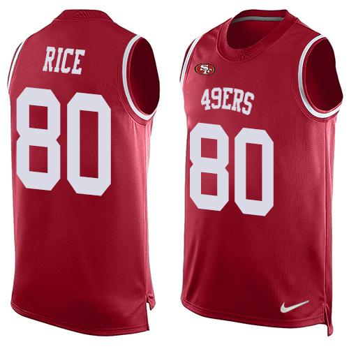 Men's San Francisco 49ers #80 Jerry Rice Red Hot Pressing Player Name & Number Nike NFL Tank Top Jersey