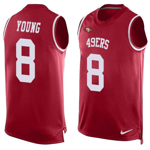 Men's San Francisco 49ers #8 Steve Young Red Hot Pressing Player Name & Number Nike NFL Tank Top Jersey